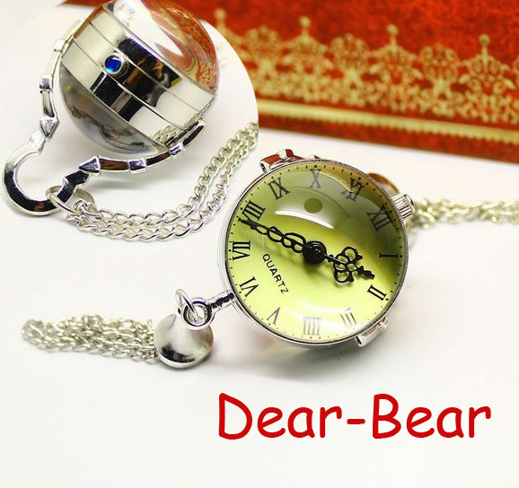 (3086)vintage steamPunk Style Silver round Ball Pocket Watch Necklace chain pend