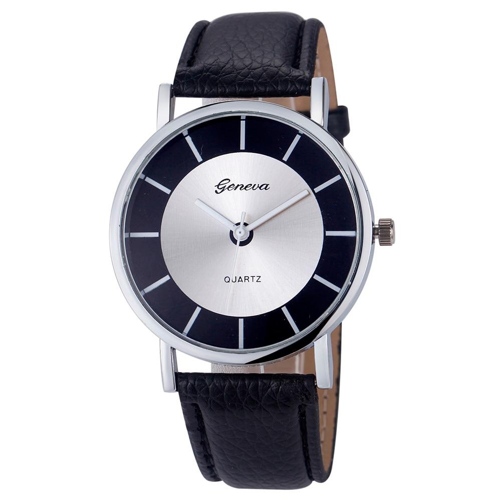 2017 Relogio Feminino Women Geneva Watch Casual Sports Clock Quartz Wristwatches Mens Retro Leather Analog Big Dial Watches