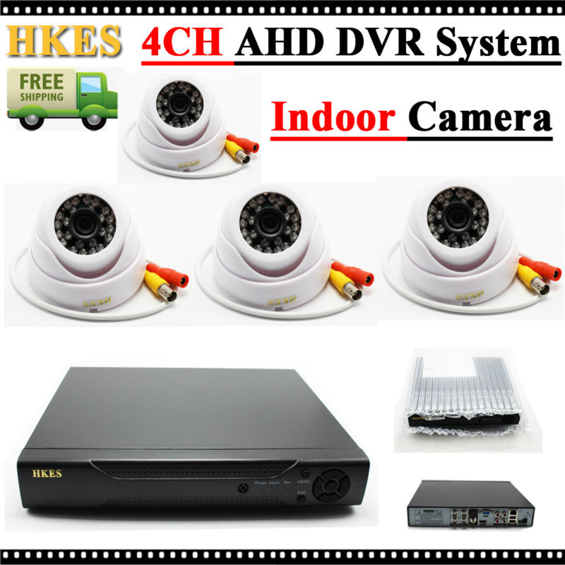 ФОТО HKES 4 Channel 1080N AHD DVR Security System with 1MP IR Dome AHD Camera 720P with 3.6MM Lens