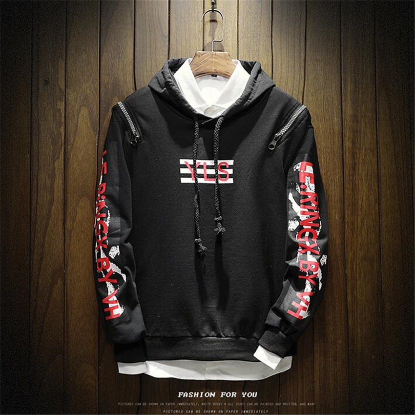 Zipper Hoodie Letters Large-Size Sweatshirts Printing-Trend Men Fashion Round Leader