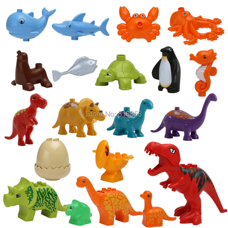 ABS Plastic Sea Animals Dinosaur Blocks Creative DIY Children Toys Fish Shark Whale Compatible Duploed Educational Toys mr froger smooth hammerhead shark sphyrna zygaena aquatic creatures wild animals toys set zoo modeling plastic solid fish model