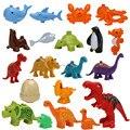 Abs de plástico de animales marinos y bloques de dinosaurio creativo diy niños juguetes fish tiburón ballena compatible duploe juguetes educativos