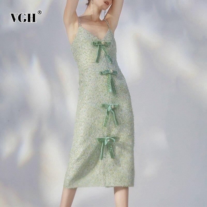 VGH diamants robe femmes col en V sans manches hors épaule taille haute Slim Bow Patchwork une ligne robes femme nouveau coréen été