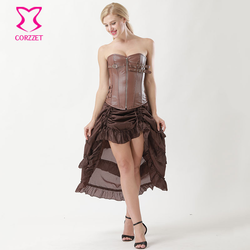 Corzzet Vintage Brown Leather Zipper Steel Boned Overbust Corset Dress Waist Slimming Mermaid Gothic Top Bustiers Corset Sets