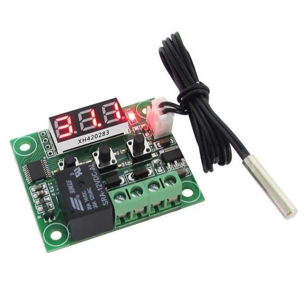 DC 12V W1209 Digital Dingin/Panas Temp Thermostat Termometer Suhu Controller Pada/OFF Switch-50-110C + w1209 Case Kotak Akrilik