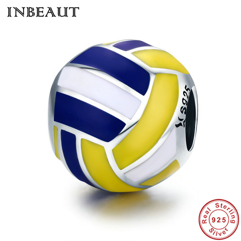 INBEAUT Genuine 925 Sterling Silver Cute Yellow Blue Volleyball Bead Charm fit Pandora Bracelet Sports Collection Jewelry Making