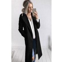 Женский зимний теплый шерстяной Тренч с лацканами с длинным рукавом, тонкая верхняя одежда, пальто