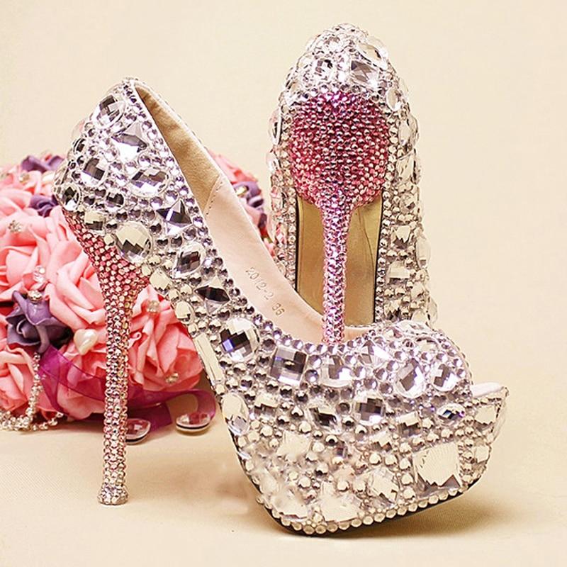 Silver And Green Crystal Rhinestone Wedding Bridal Shoes