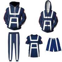 Mein Hero Wissenschaft Hoodie Jacke Cosplay Kostüm Männer Frauen Sweatshirt Hoodies Gym Schule Uniformen Blau Sommer T-shirt Tops S-5XL