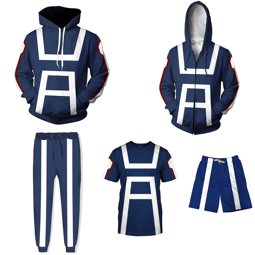 My Hero Academia Hoodie Jacket Cosplay Costume Men Women Sweatshirt Hoodies Gym School Uniforms Blue Summer T-shirt Tops S-5XL
