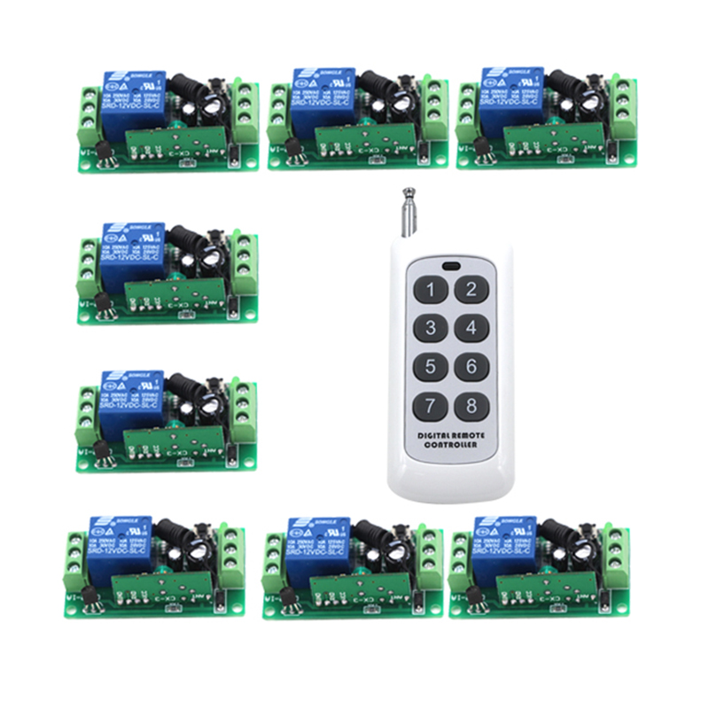 New 12V 1ch wireless remote control switch system 8CH transmitter & 8Pcs 1CH receiver relay smart house 4014 1ch wireless remote control switch system z wave 12v 4pcs receiver