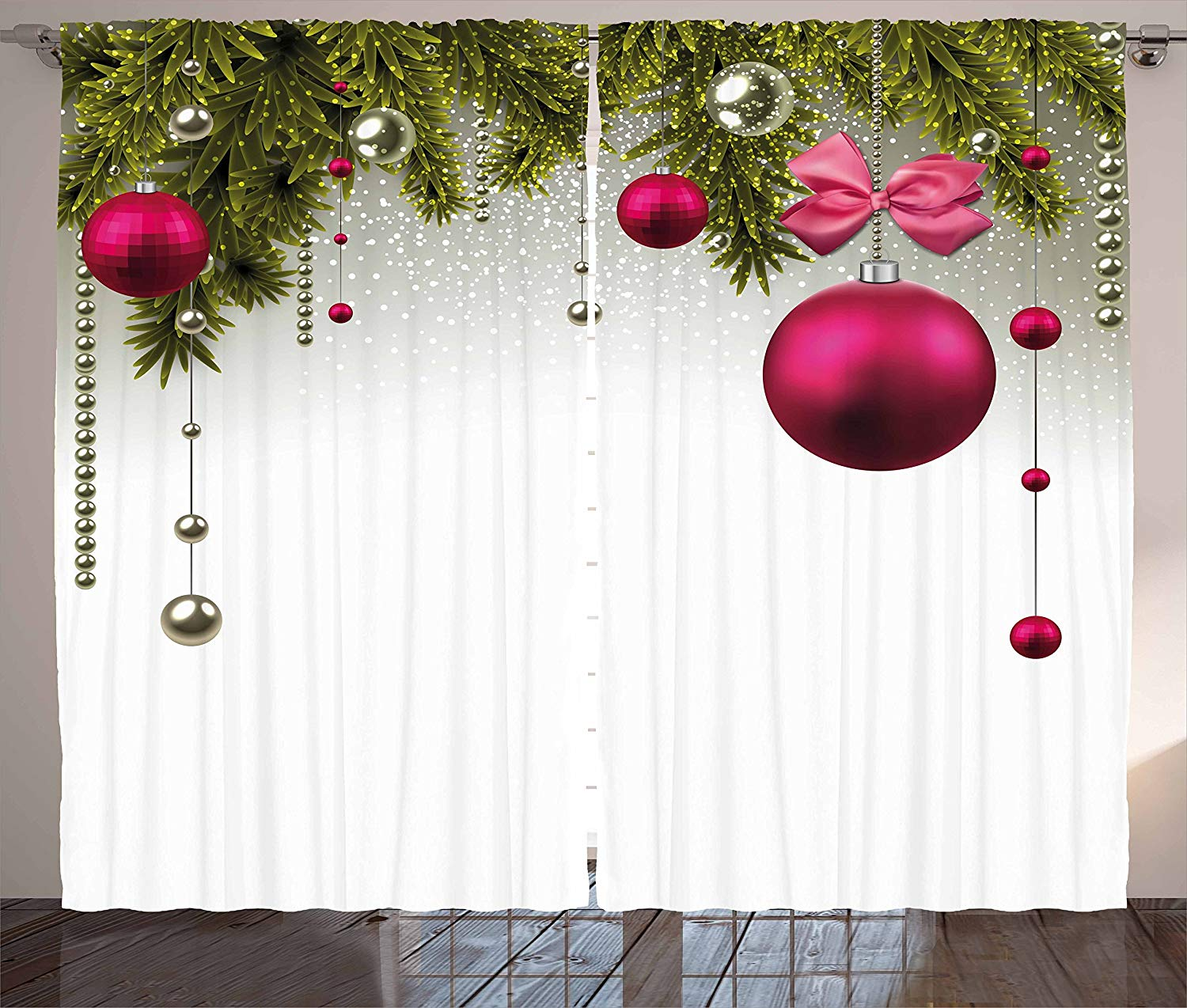 Christmas Curtains Vivid Fir Twigs And Magenta Balls Framework Special Day Preparation Living Room Bedroom Window Decor Panel