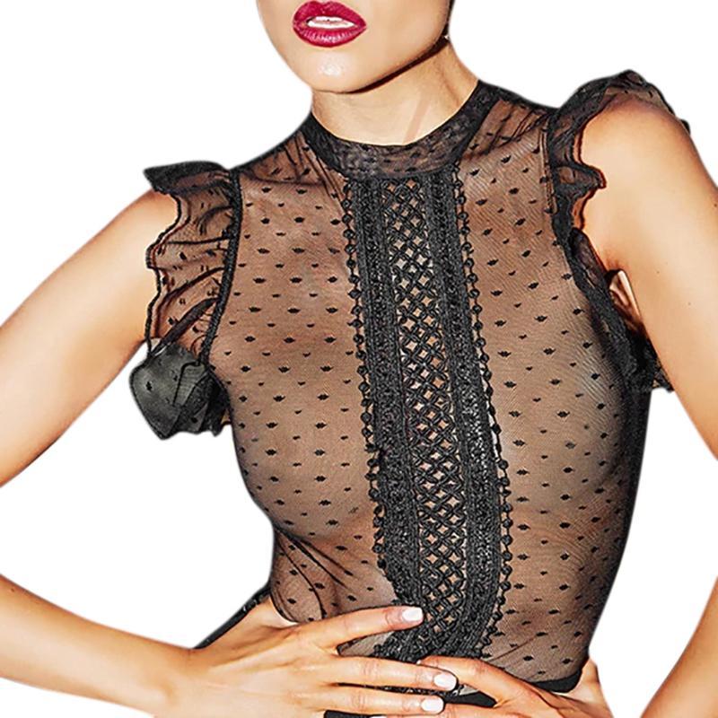 Women's Round Neck Lace Polka Dot Piecing Vertical Crochet Perspective Sexy Underwear Lingerie Jumpsuit Teddy Bodysuit