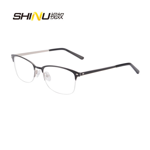a5074fe4ec5e Stainless steel double color plating metal Glasses Frames Woman Man Eyeglasses  Frame for Myopia Vintage Black