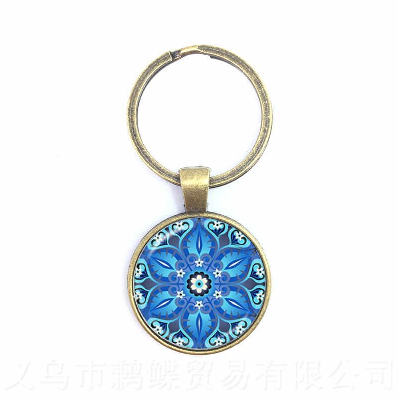 OM/AUM брелок ручной работы синяя Мандала Цветок дурмана символ искусства ювелирные изделия стекло фото брелок Бесконечная любовь и месть оптовая продажа