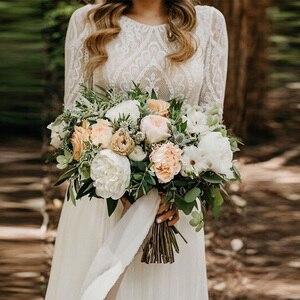 Image 2 - Vestido de noiva białe kości słoniowej koronkowe suknie ślubne 2020 Sexy Backless szyfon, boho plaża suknia ślubna długie rękawy suknia dla panny młodej
