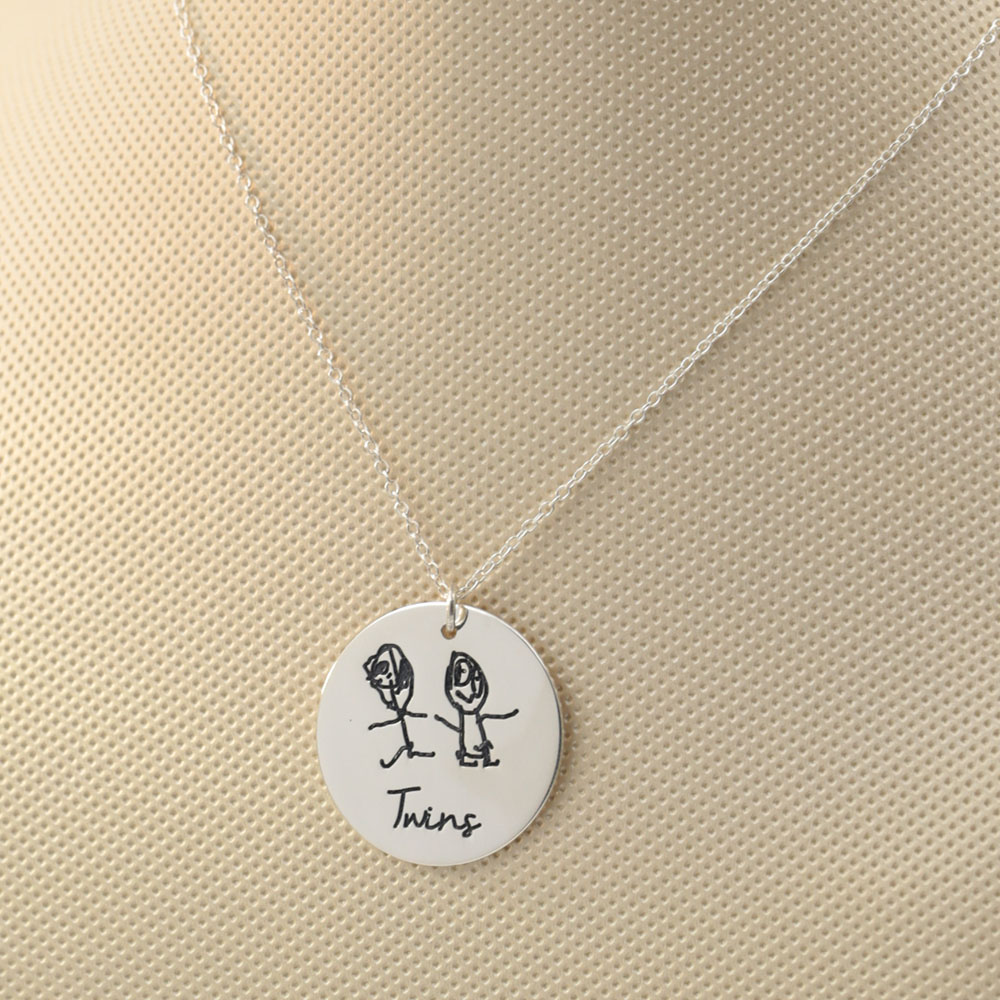 925 Solid Silver Disc Necklace Engraved Kid's Drawing Custom Children's Paint Necklace Christmas Memory Jewelry