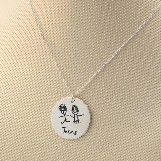 925 Sólido Collar de Disco de Plata Grabado de Dibujo de los Niños Personalizados Para Niños Pintura de Navidad Collar de Joyería de la Memoria