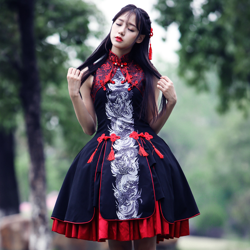 Sweet Classic Qi-<font><b>lolita</b></font> Dress Retro Gothic <font><b>Lolita</b></font> Dragon White Tiger Embroidered Chinese Style Dresses image