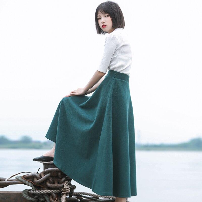 무료 배송 2019 새로운 패션 긴 맥시 두꺼운 a 라인 스커트 여성 플러스 크기 XS 6XL 사용자 정의 겨울 모직 스커트 따뜻한-에서스커트부터 여성 의류 의  그룹 1