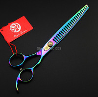 7 0inch Big Human Hair Thinning Scissors For Barbers Rainbow Colorful Hair Scissors Hairdressing Shears Free