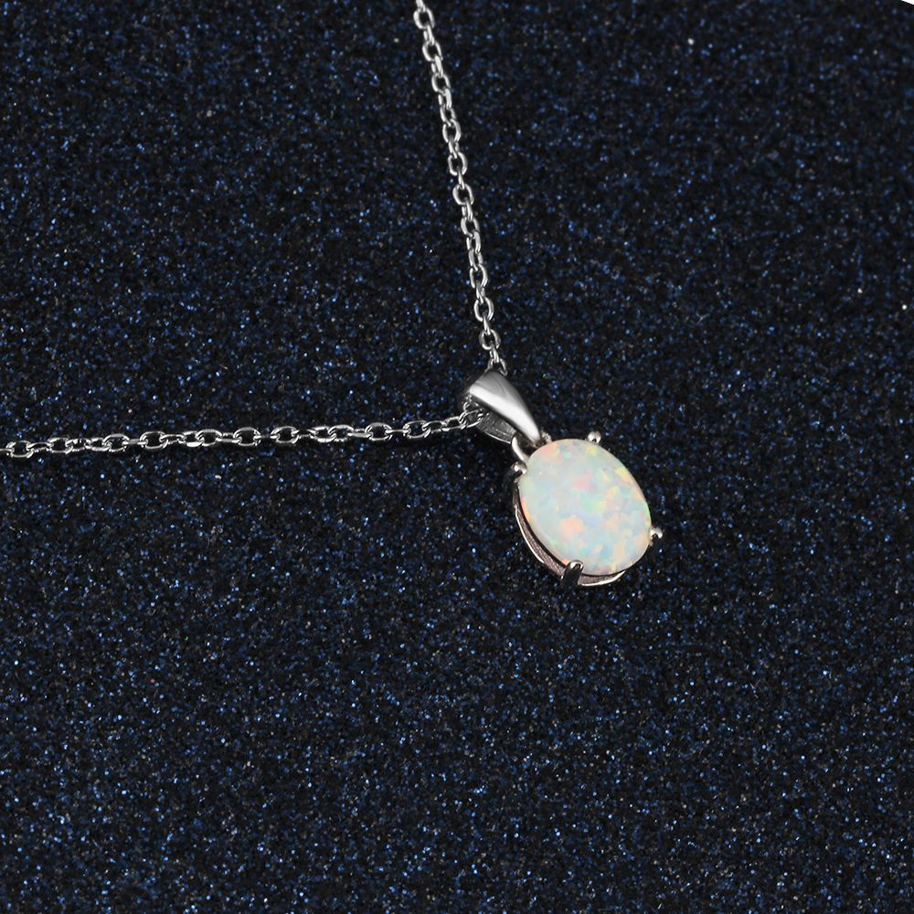 Necklace Created Oval White Pink Blue Jewelry - 1MRK.COM