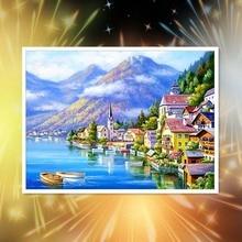 Landscape 5D Diamond Painting  Lake Villa Full Round Embroidery Rhinestone Mosaic Needlework Handmade Kit