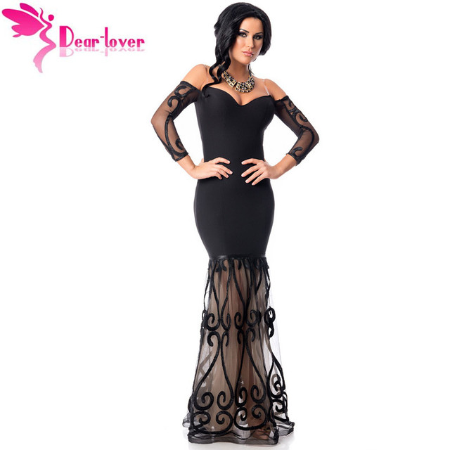 dfcb77fc86 Dear Lover Negro Hombro Bordado de Tul Vestido de La Sirena con Manga Larga  Otoño Vestidos