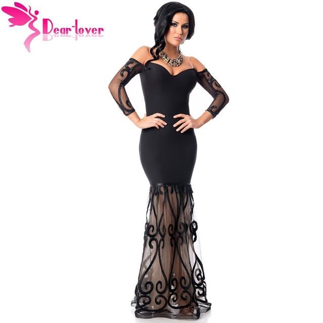 33d7775a6 Dear Lover Negro Hombro Bordado de Tul Vestido de La Sirena con Manga Larga  Otoño Vestidos