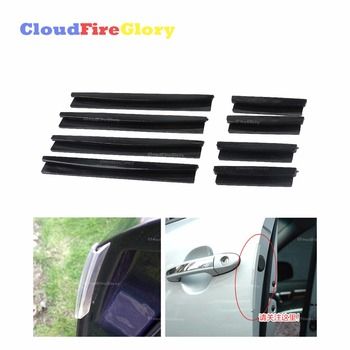 CloudFireGlory 8Pcs White Black Color Car Auto Styling Door Edge Guard Strip Scratch Protector Anti-collision Trim Mouldings image