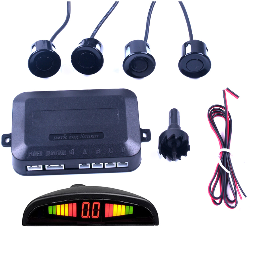 1 Unidades de Sensor de aparcamiento LED para coche pantalla 4 sensores para todos los coches asistencia inversa Sistema de Monitor de Radar de respaldo