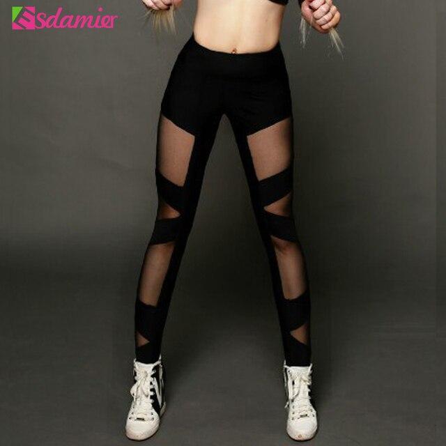 Good Quality 2017 Sexy Mesh Stitching Women Leggings Fashion High Waist Leggins Bandage Fitness Leggings Sportswear Skinny Pants
