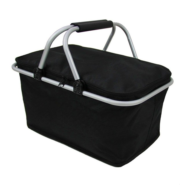 46cm X 28cm 24cm Folding Picnic Camping Insulated Cooler Cool Hamper Storage Basket Bag Box