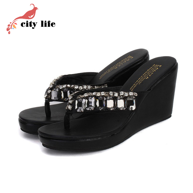 3.28 Anniversary Sale Price 2017 Hot Sell Bohemian Sandal Woman Flip Flops, Black White Rhinestone Beach Wedges Shoes Discount
