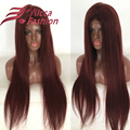 Custom 99j Lace Front Wig Silky Straight Brazilian Virgin Unprocessed Full Lace Wig Glueless Full Lace Human Hair Wigs Red Color