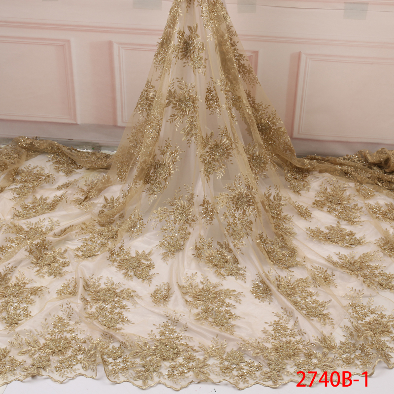 Nigerian Beaded Lace Fabric 2019,African Beaded Embroidered Lace Fabric High Quality, French Net Tulle Laces For Party KS2740B-1
