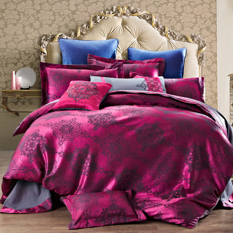4-Pieces Cotton Imitated Silk Luxury Bedding Set Solid Color Pinch Pleat Bed Set King Queen Bed Linens Duvet Cover Bed Sheet