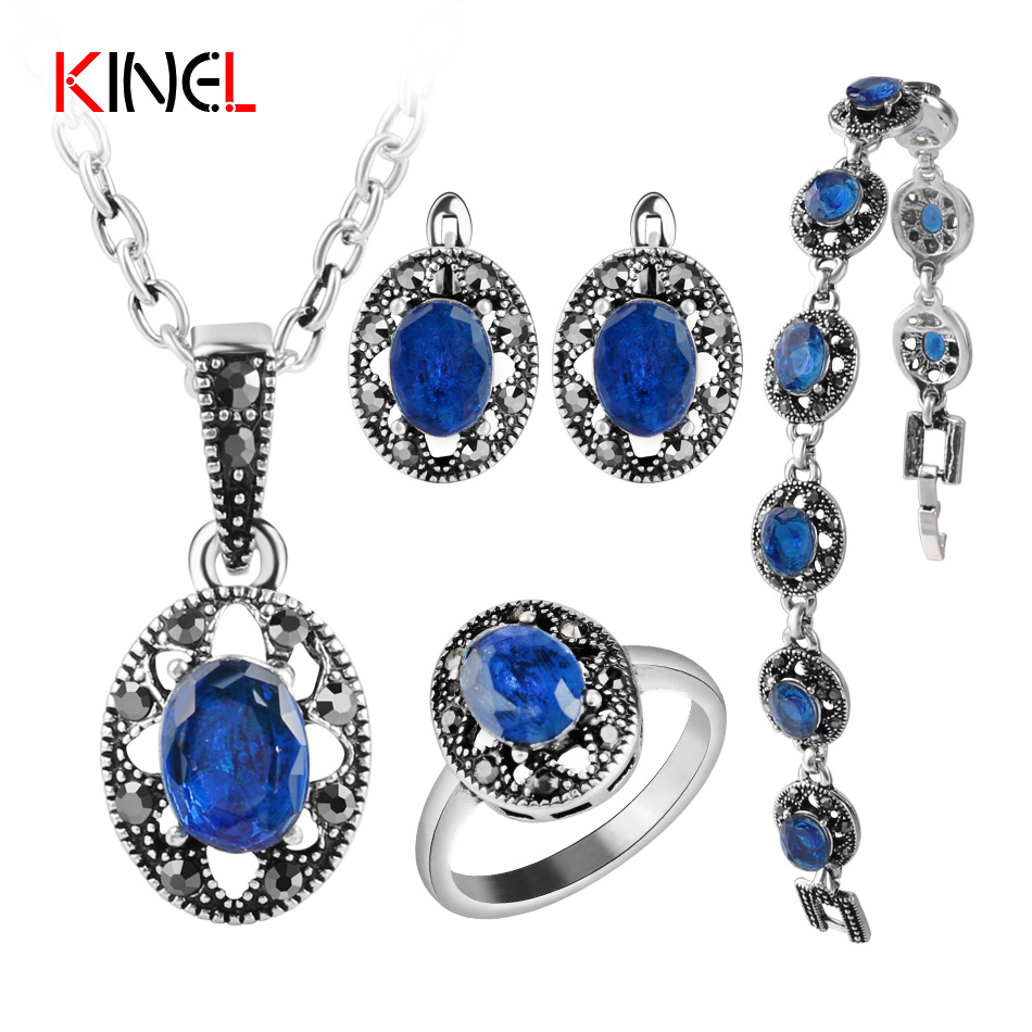 Blue Crystal Bridal Jewelry Sets For Women Silver Plated Simulated Sapphire Bracelet Earrings Necklace Rings Vintage