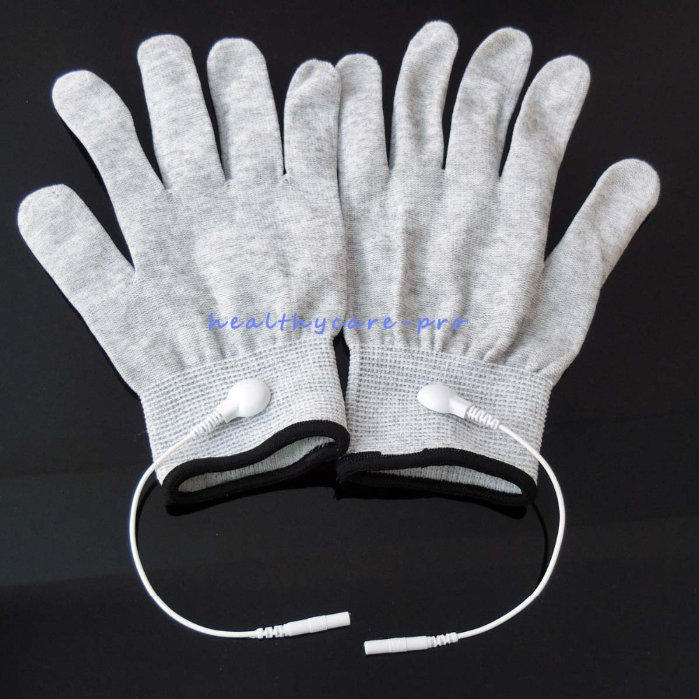 High Quality 100 Pairs/Lot Electrode Conductive Massage Gloves Snap 2.5mm Use With Tens Therapy Massage For Face Hand Healthcare high quality hand tool gloves 12 pairs 700g cotton gloves wear resistant work thick gloves against high low temperature gloves
