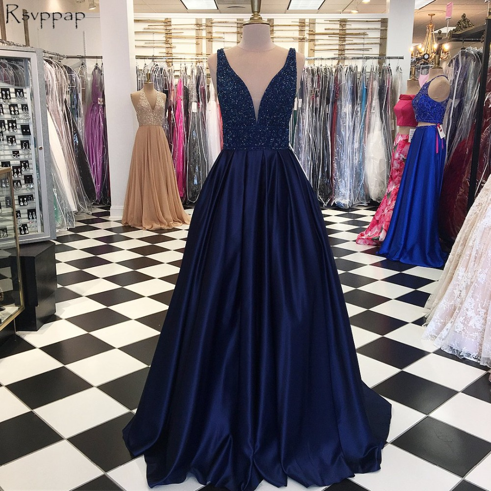 Stunning Long   Prom     Dresses   2019 A-line Sleeveless Heave Top Beaded Navy Blue African   Prom     Dress