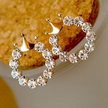 E0273 Fashion Jewelry Shining Crystal Round Circle Stud Earrings For Women Gold Color Crown Earrings Party Wedding Jewelry Gift(China)