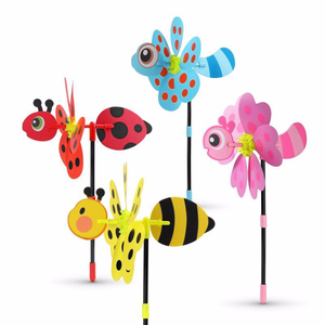 2pcs/set Colorful 3D Lovely Handmade Wind Spinner Windmill Toys For Baby Insect Decoration Garden Yard Outdoor Classic Toy Kids