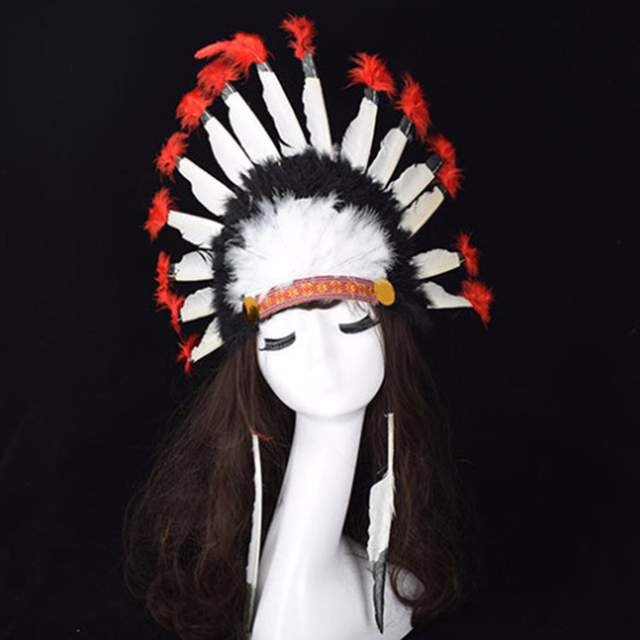 US $4 99  Indian Chief Feather Headdress Hats Native American Headdress  Indian Feather Costumes War Bonnet Hat Indian Headdress Cap-in Boys Costume