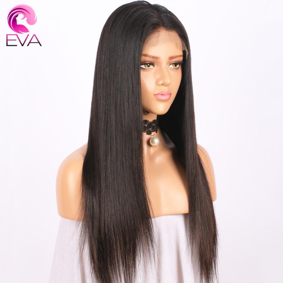 Pelucas llenas del pelo humano del cordón de la seda de Eva Hair con - Cabello humano (negro)