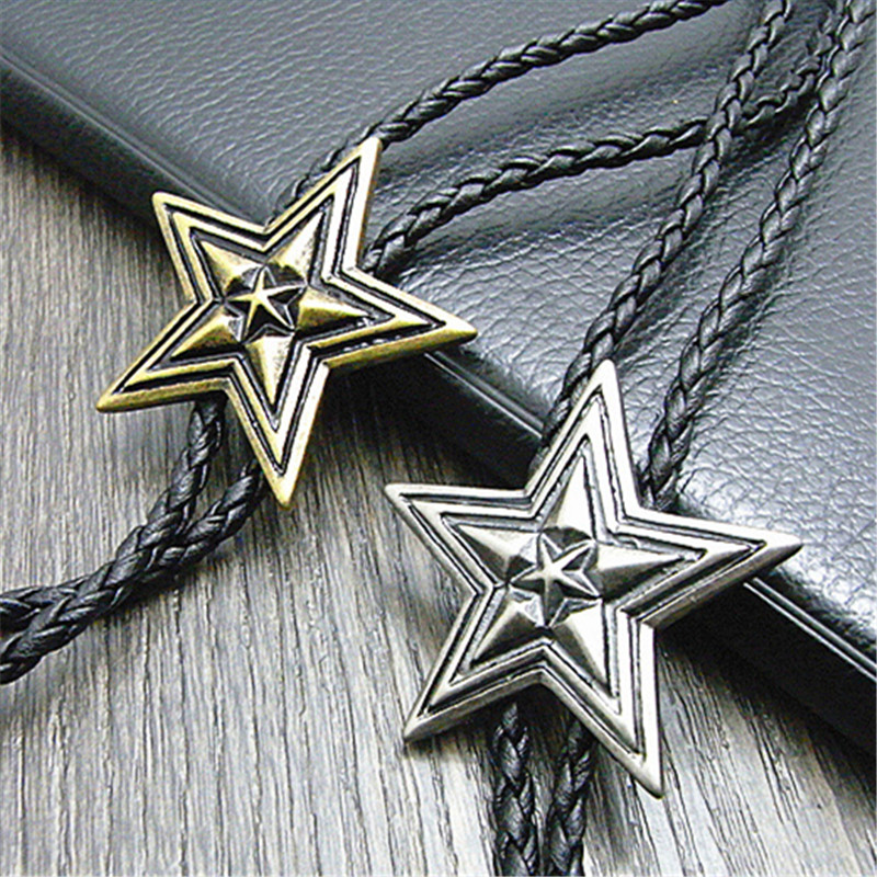 Bolo Tie New Pentagram Retro Shirt Chain Big Star Collar Necklaces Long Neckties Pendant