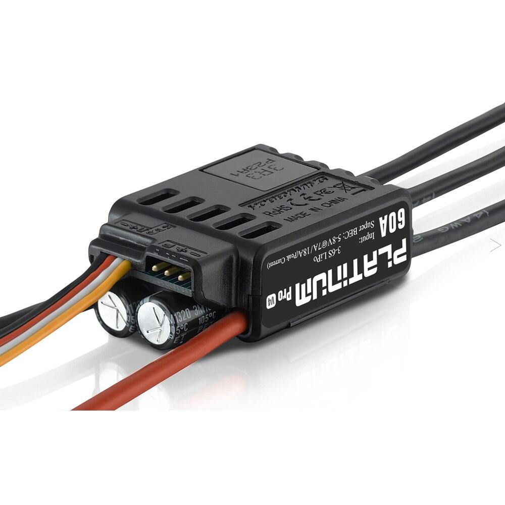 Hobbywing Platinum 60A PRO V4 ESC (3 S   6 S) สำหรับ 450 480 Heli เฮลิคอปเตอร์ (ใบพัด: 325 360 มม.)-ใน ชิ้นส่วนและอุปกรณ์เสริม จาก ของเล่นและงานอดิเรก บน   2