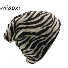 miaoxi New Casual Autumn Women Warm Hat Scarf Fashion Striped Female Caps Knitting Girl Beanie Skullies