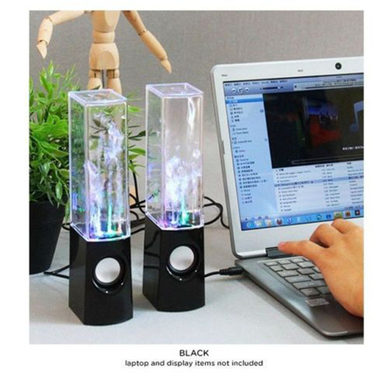 LED Light Dancing Water Speakers Fountain Music For Desktop Laptop Computer PC,USB Powered Stereo Speakers 3.5mm Audio