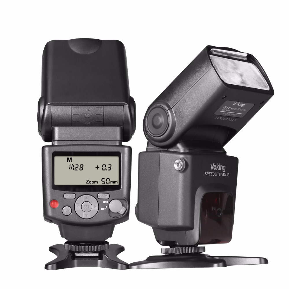 Voking VK430 E-TTL LCD Display Speedlite Shoe Mount Flash for Canon Eos Digital DSLR Camera with Standard Hot Shoe Stand new top cover small lcd display parameters for canon eos 6d digital camera repair part