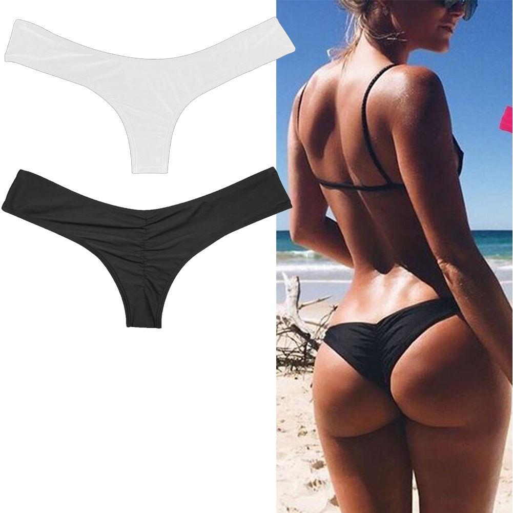2017 Bikini Women Swimsuit Solid Color Bikini Set Brazilian Cheeky Bottom Thong V Swimwear Panties Briefs stylish women s solid color pleated culotte